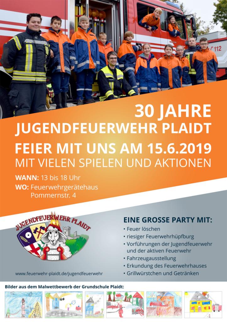 Plakat 30 Jahre Jugendfeuerwehr