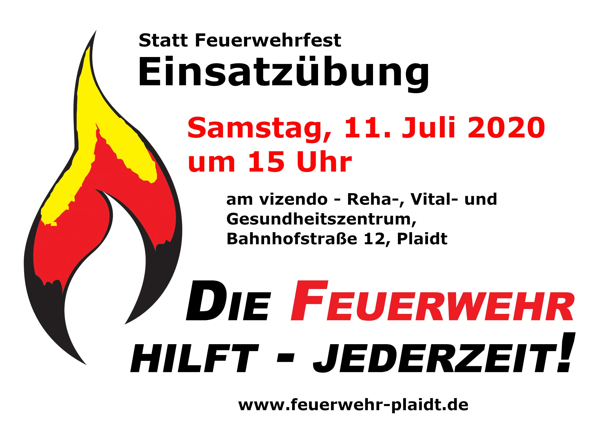 Plakat Einsatzübung am 11. Juli 2020